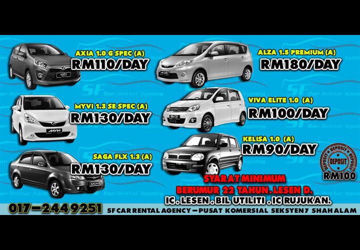 Harga Sewa Kereta Shah Alam