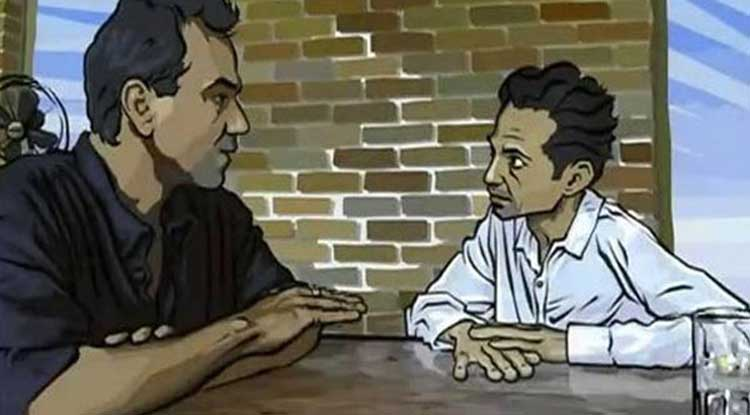 "Richard Linklater's animated odyssey ""Waking Life""."