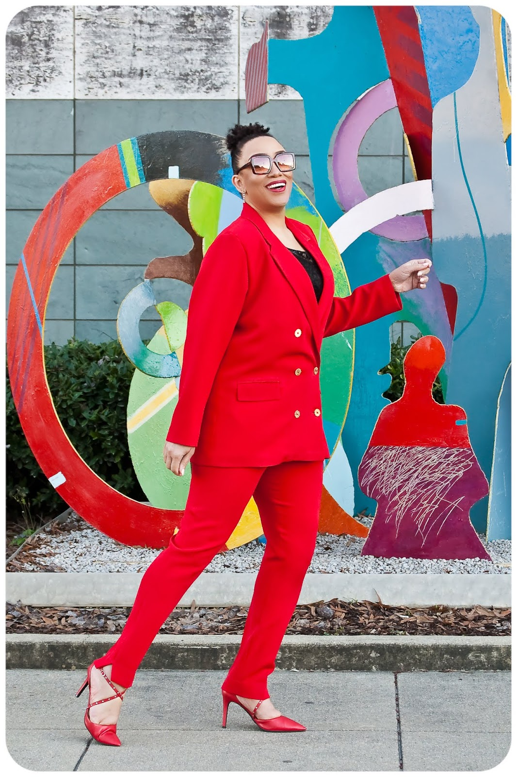 Red Power Suit: Jacket - Style Arc McKenzie Blazer; Pants - Simplicity 8749 -- Erica Bunker DIY Style!