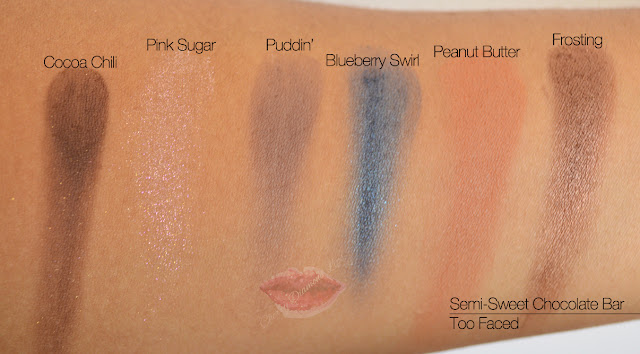 Semi-Sweet Chocolate Bar, Too Faced, Cocoa Chili, Pink Sugar, Puddin', Blueberry Swirl, Peanut Butter, Frosting, Swatches