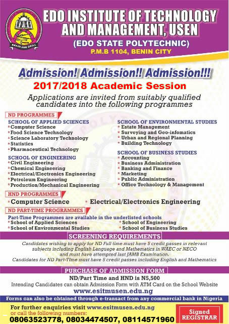 Edo State Polytechnic Usen, Form is out