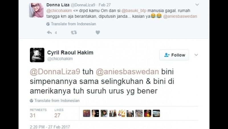 Tweet @chicohakim yang disebut memfitnah Anies Baswedan