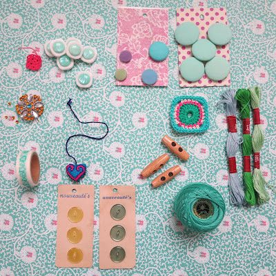ByHaafner, haberdashery, pastel colours, vintage buttons, thread, washi tape, paper