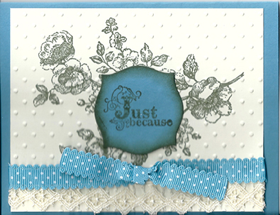 Hand Made Any Occasion card with lace and ribbon