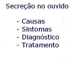 Secreção no ouvido causas sintomas diagnóstico tratamento prevenção riscos complicações