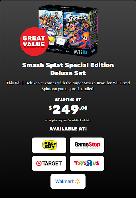 Smash Splat Special Edition Deluxe Set Nintendo Black Friday Wii U bundle Splatoon Super Smash Bros. $250