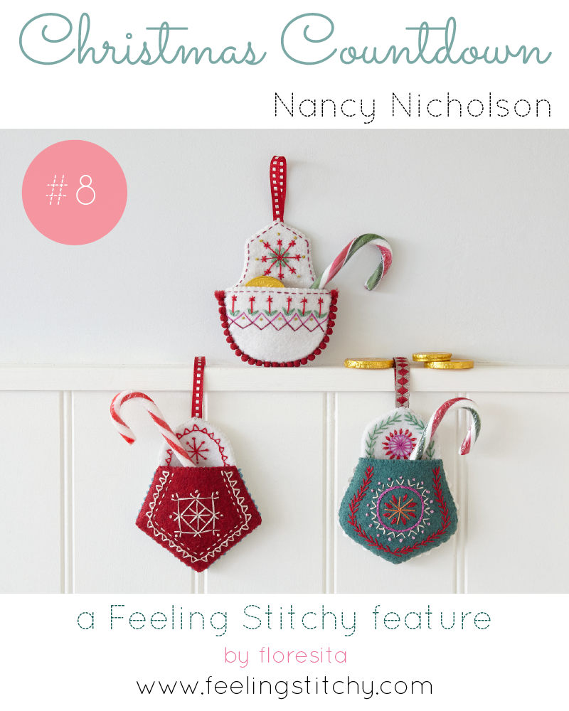 Christmas Countdown 8 - Nancy Nicholson Design Christmas Pocket patterns, featured on Feeling Stitchy by floresita