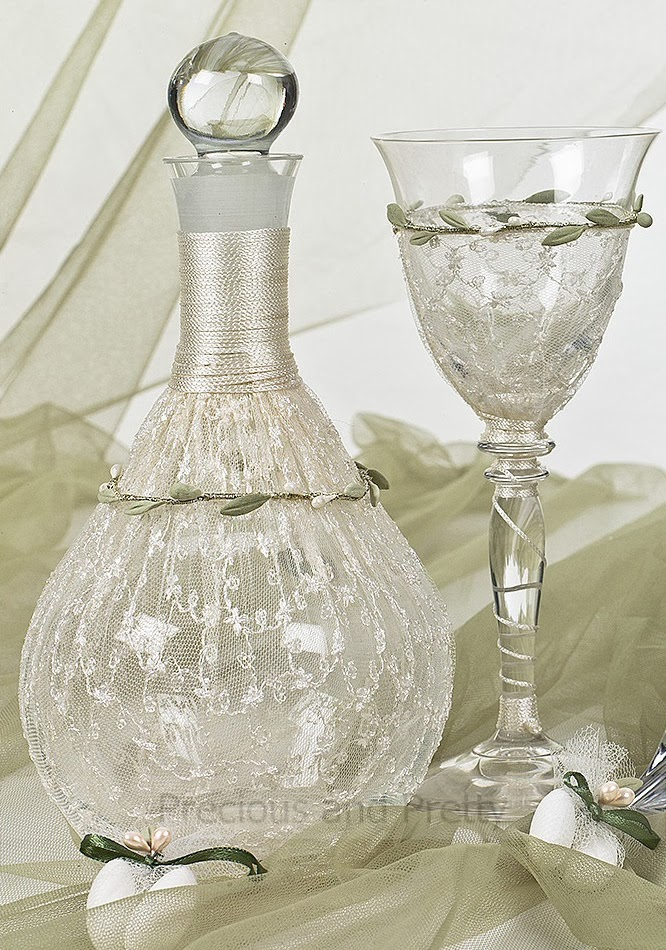 wine decanter set with olive leaves and laca for weddings