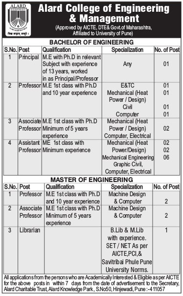 Alard College of Engineering and Management, Pune, Wanted