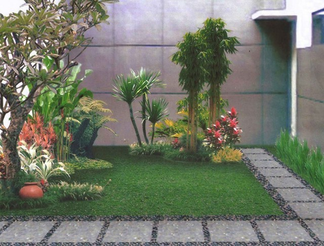 taman rumah minimalis dengan bukaan lebar