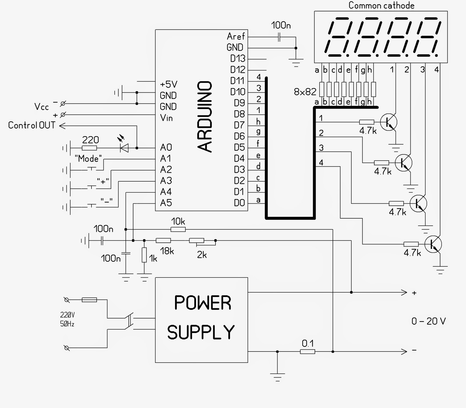 Arduino Volt ermeter on schematic circuit diagram