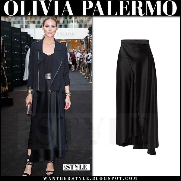 Olivia Palermo in black jacket and black escada maxi skirt what she wore red carpet