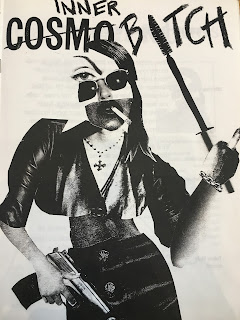 Cover art for Inner Bitch showing a collaged image of a woman with a a gun