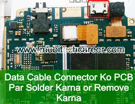 How to solder & remove Data Cable Connector USB connector socket on pcb of a mobile cell phone in mobile phone repairing in hindi