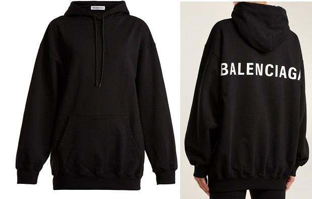 Áo khoác nữ Balenciaga hooded sweatshirt black