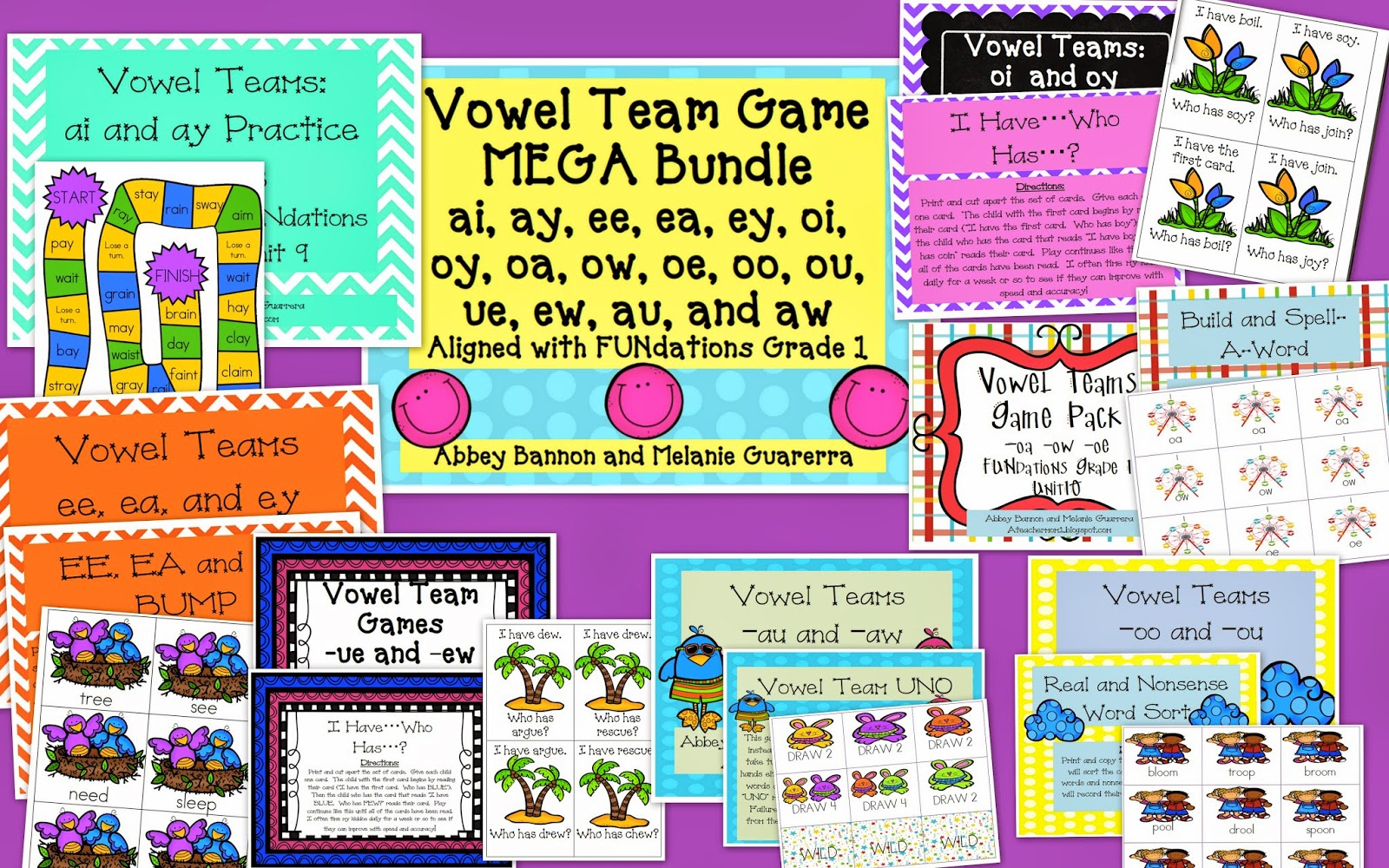 Teacher Mom Au And Aw Vowel Teams Game Pack And A