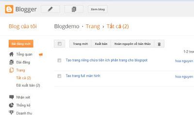 Tạo trang riêng chứa tiện ích phân trang cho Blogspot
