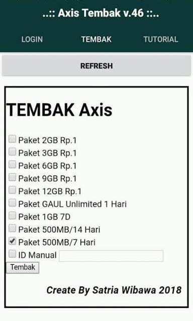 Aplikasi Tembak Paket Kuota Axis Rp.1 Dan Axis Play 2