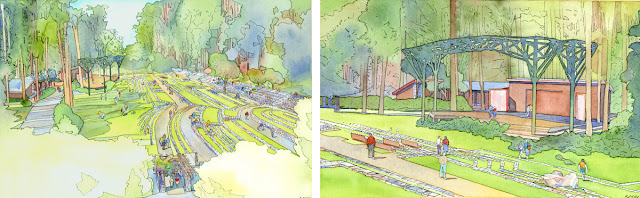 Lawrence Halprin's renderings of the meadow (left) and the stage (right), 2003  Courtesy of the Stern Grove Festival Association