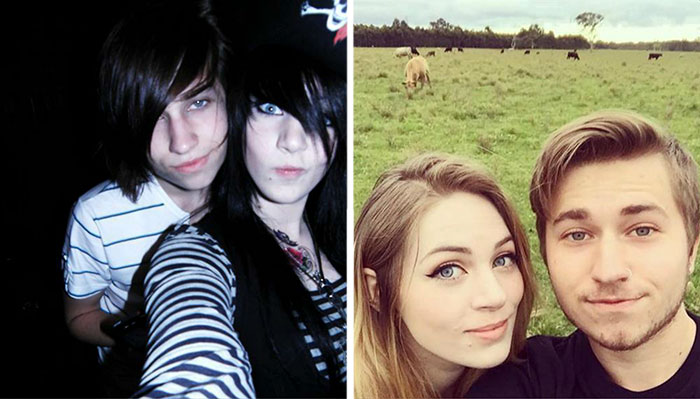 #1 Me And My Girlfriend When We First Met Vs. Now. The Regretful Emo Phase - 10 Before & After Pics Of Rebellious Teenagers
