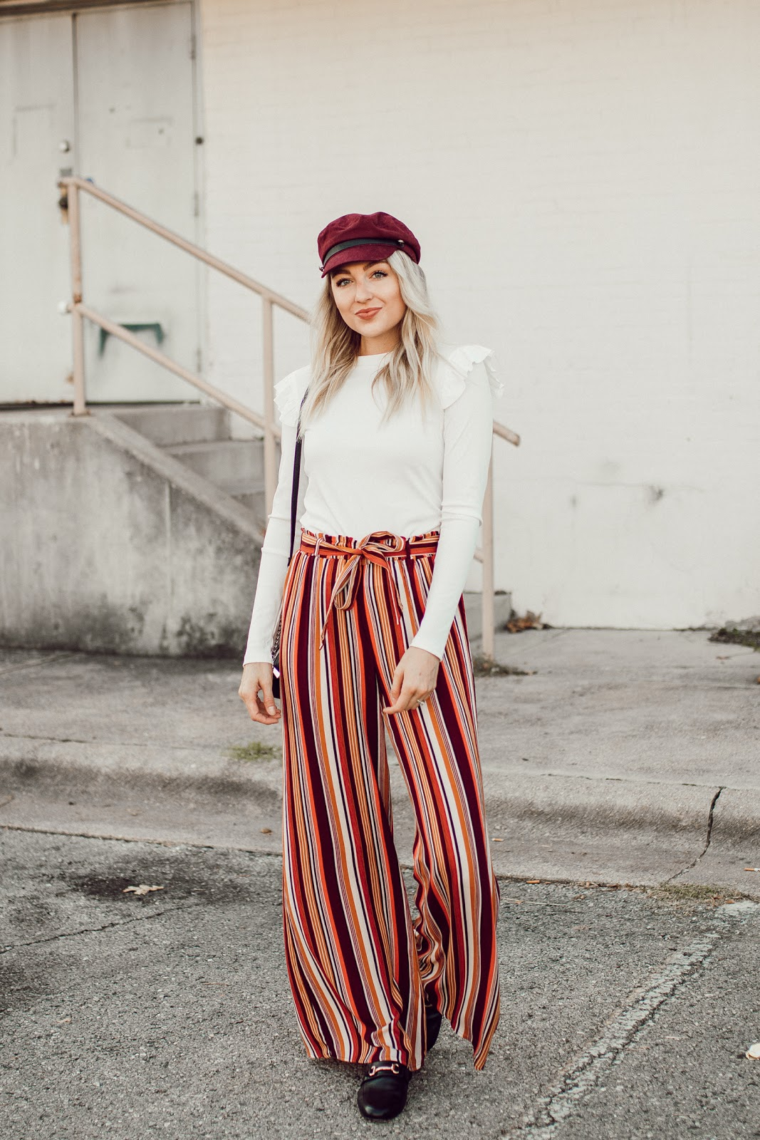 striped wide leg pants for fall
