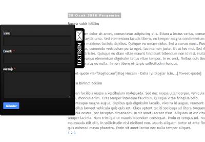 Bloger sabit açılır iletişim formu