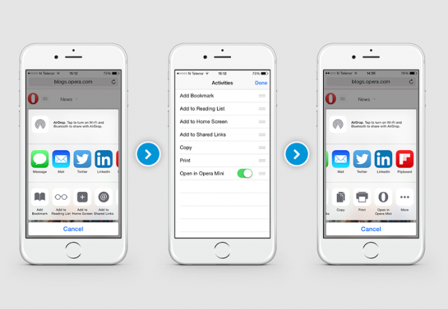 Opera Mini Web browser Updated for Share Extensions Support in iOS 8
