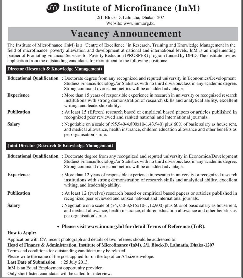 Vacancy Announcement : Institute of Microfinance