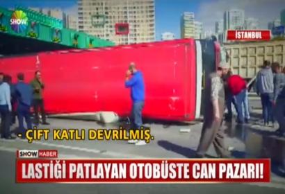انقلاب باص نقل داخلي في اسطنبول