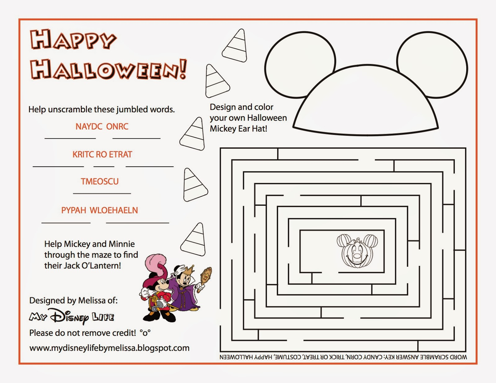 My Disney Life Halloween Activity Sheet