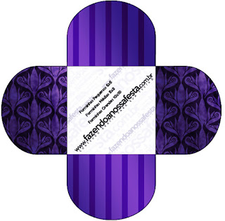 Purple with Arabesques and Stripes Free Printable Quinceanera PartyBoxes.