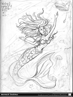 Mermaid sketch by Traci Van Wagoner