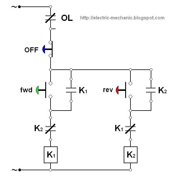 wiring diagram motor bolak balik  forward reverse three phase motor