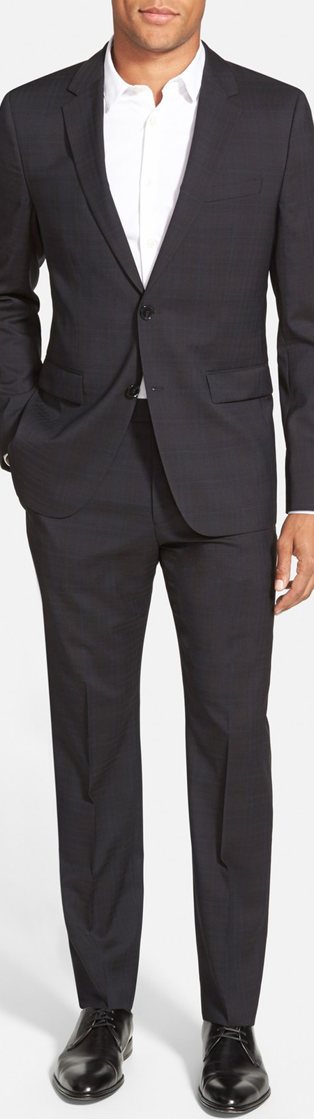 HUGO 'Aeron/Hamen' Extra Trim Fit Plaid Wool Suit