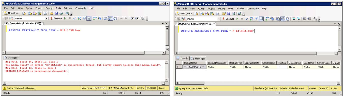 Faisal's Technical Blog: SQL Server restore error: Specified
