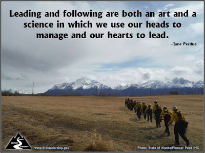 Pic: Leading and following are both an art and a science in which we use our heads to manage our our hearts to lead. - Jane Perdue