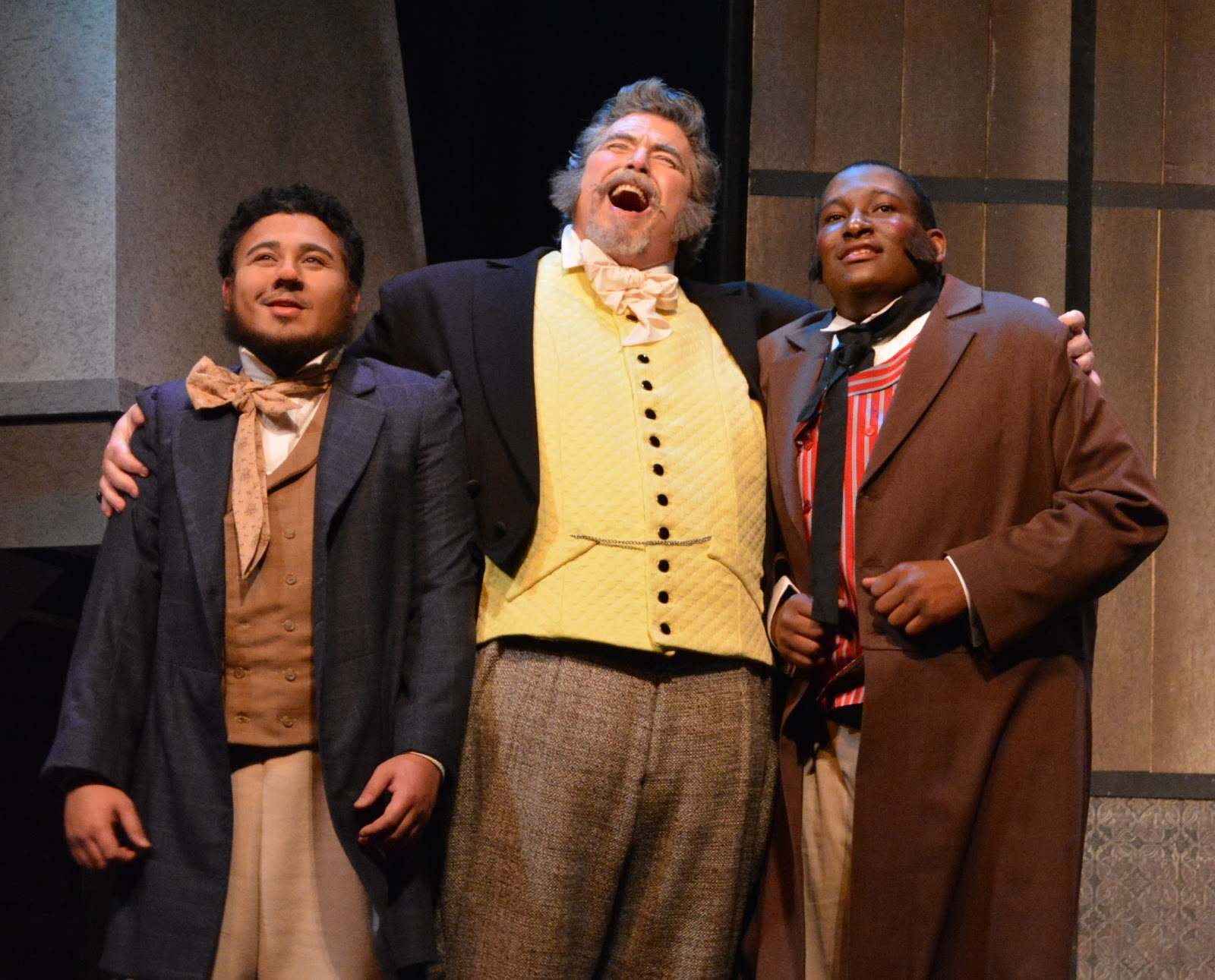 IN REVIEW: (from left to right) tenor LORENZE SPARKS as Bardolfo, baritone RICHARD ZELLER as Falstaff, and bass REGINALD POWELL as Pistola in UNCG Opera Theatre's April 2019 production of Giuseppe Verdi's FALSTAFF [Photograph by Amy Holroyd, © by UNCG Opera Theatre]