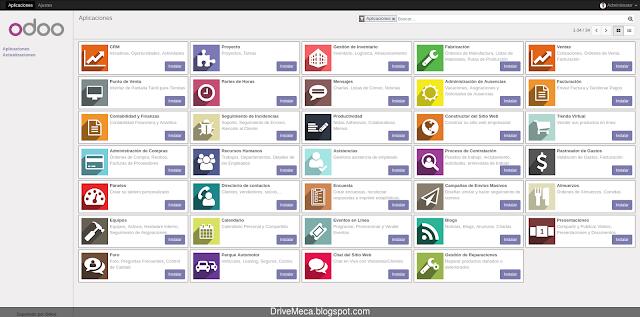 Listado de modulos de Odoo en interfaz web