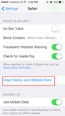 Clearing Cached in iPhone