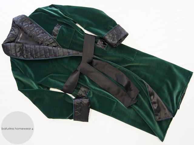 Morgenmantel Englischer Stil Luxus Hausmantel für Herren Grün Samt Seide Gesteppt Gefüttert Lang Warm
