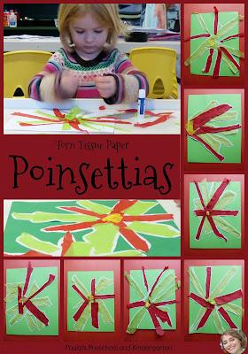 Torn tissue paper poinsettias, from Paula's Preschool and Kindergarten