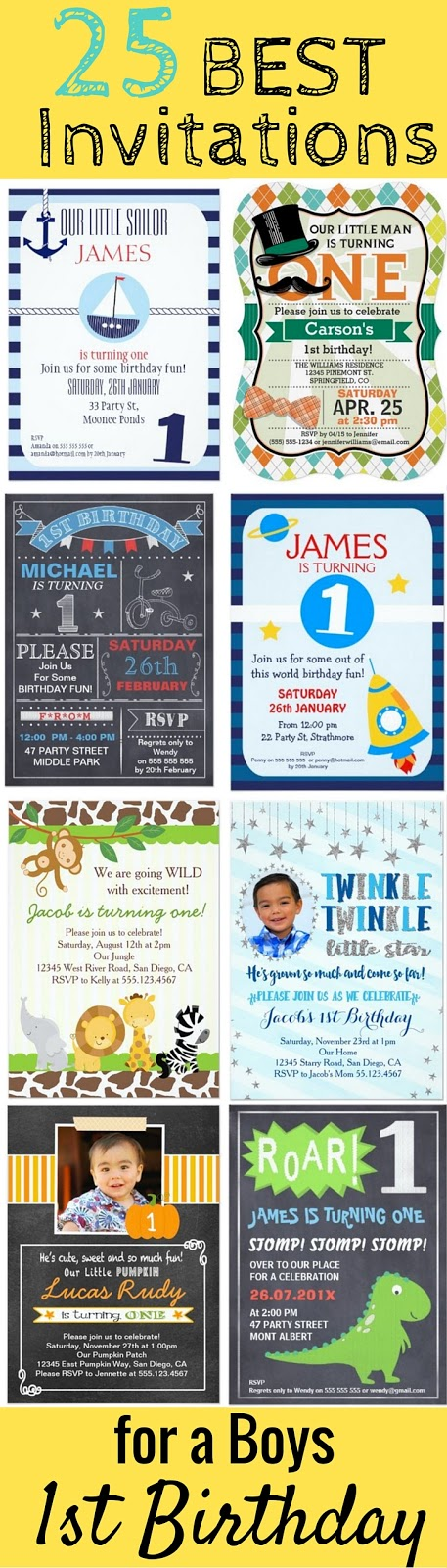 The 25 BEST 1st Birthday Party Invitations for Boys - Your little man is turning one! Having too many options and ideas for party invites can be overwhelming, so I've searched through hundreds of first birthday invites for boys and compiled what I think are the very best ones to get. I personally like the nautical designs, and the ones with a mustache. All of these invitations are personalizable, but I love the templates that allow you to upload your own custom picture of your little one. ♡
