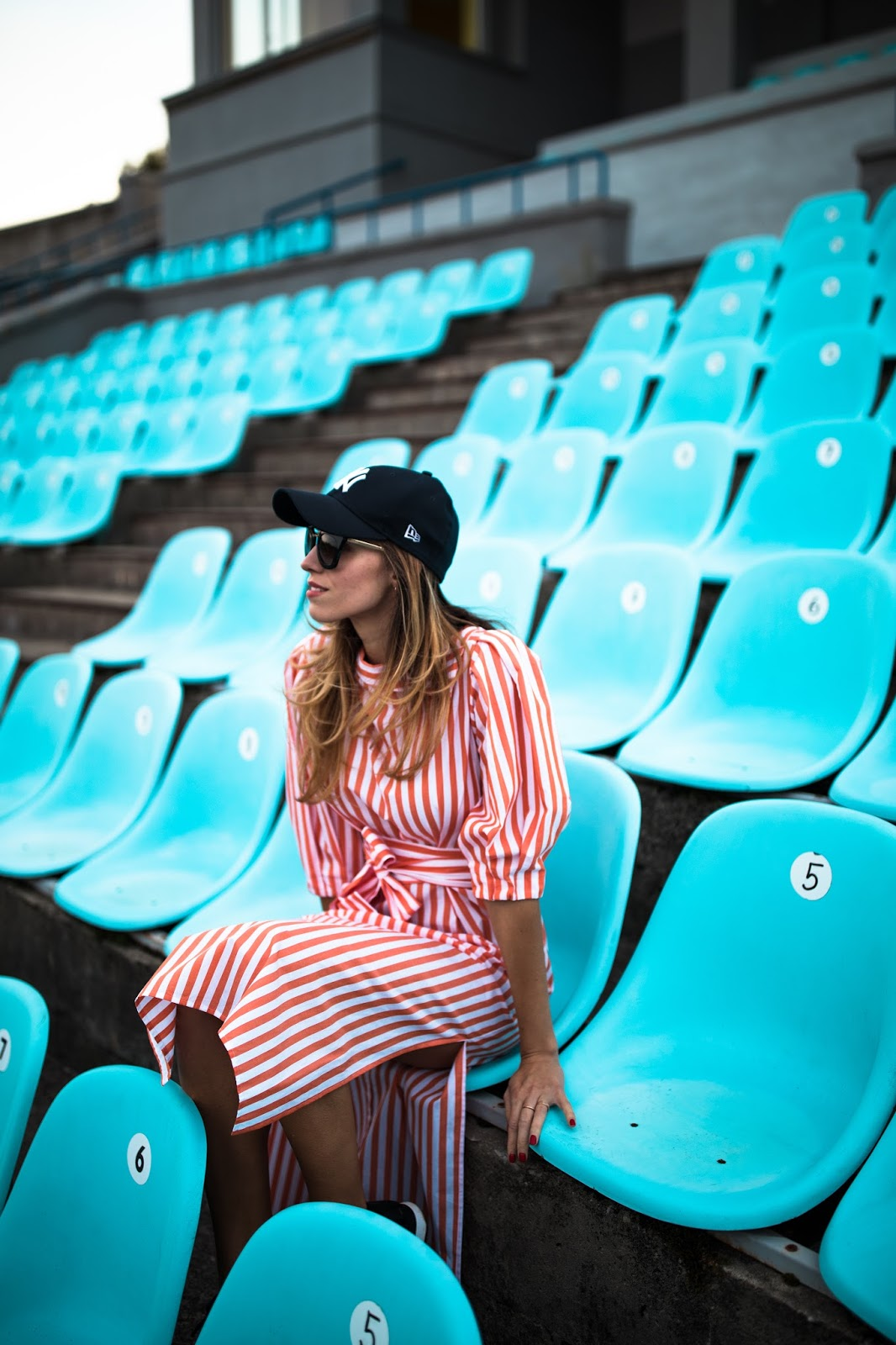 red striped midi dress cap hat outfit
