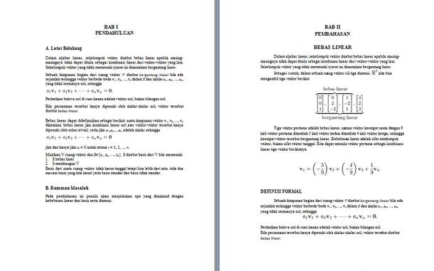 Contoh Makalah Matematika Aljabar Linier dan Elementer Tentang Bebas Linier dan Basis dan Bidang Dimensi