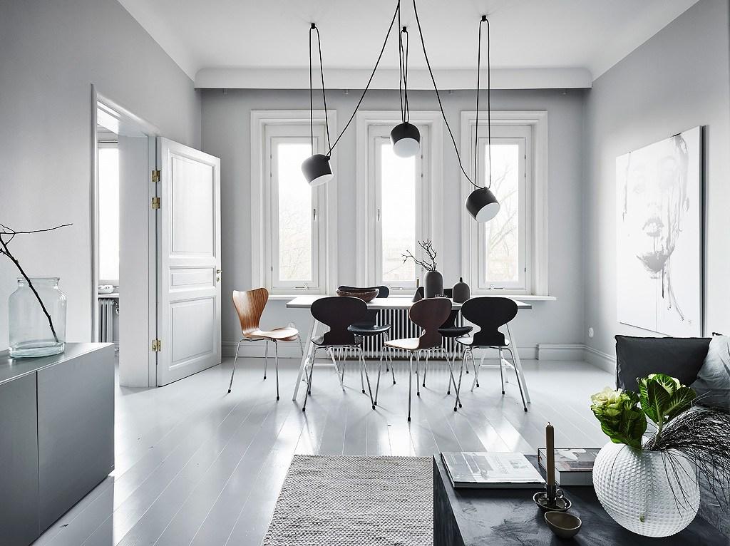 Pavimento Bianco E Grigio : Elegante appartamento in bianco e grigio con decorazioni scure arc