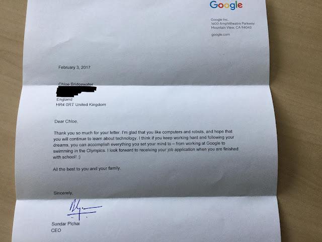 Letter of Mr. Sundar Pichai to 7 years old girl