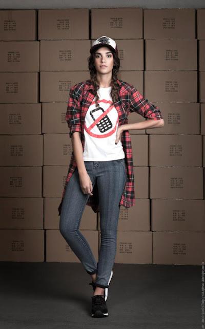 Wupper Jeans otoño invierno 2016. Moda camisas a cuadros invierno 2016 mujer.