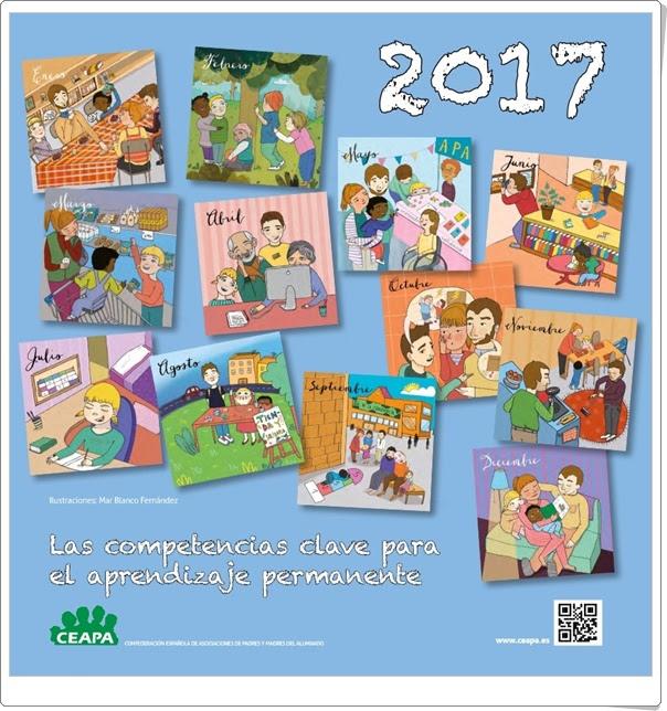 """""""Calendario 2017 de CEAPA"""" (Competencias clave para el aprendizaje permanente)"""