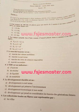 Exemple Concours Master Ingénierie des Ressources Humaines 2015-2016 Fp-El Jadida