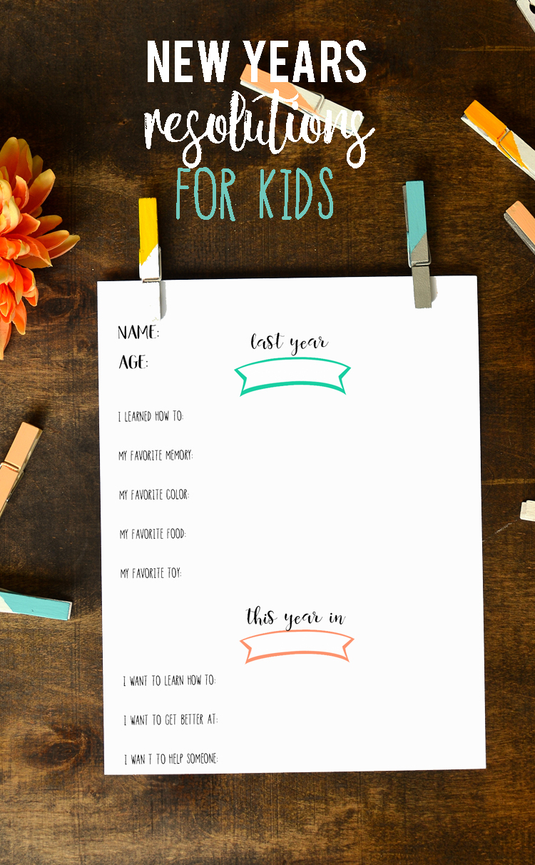a fun new years resolution and goals printable for kids
